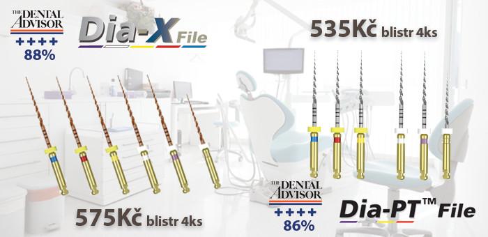 Dia-X a Dia-PT files NITI nástroje, protaper gold