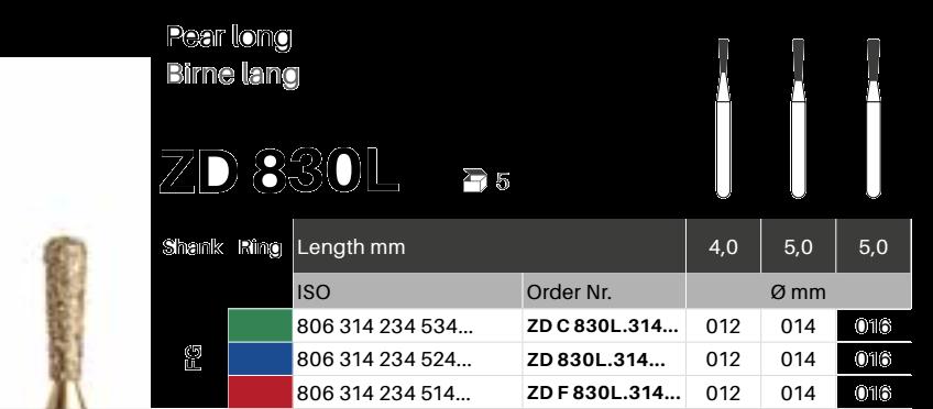 ZD diamant na zirkon oxid - 830L hruška dlouhá - 5 ks