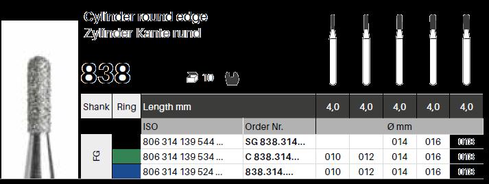 FG diamant - válec kulatý 838 - 5 ks