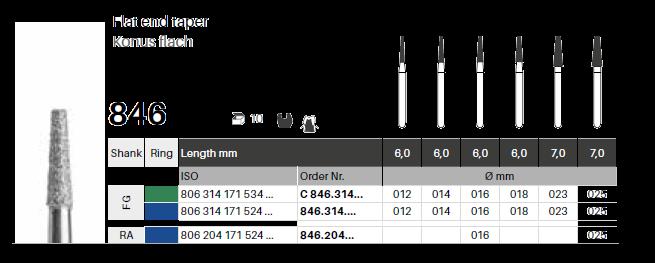 FG diamant - konus plochý 846 - 5 ks