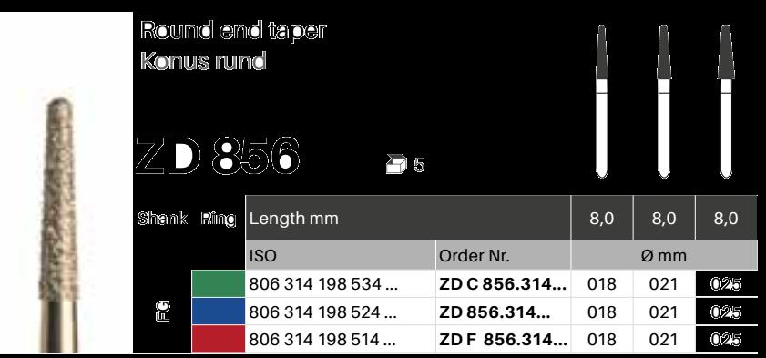 ZD diamant na zirkon oxid - 856 konus kulatý - 5 ks