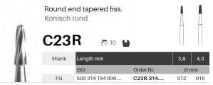 Tvrdokovový vrtáček - C23R - kužel dlouhý