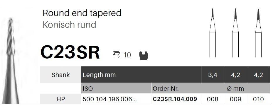 Tvrdokovový vrtáček - C23SR - kužel kulatý