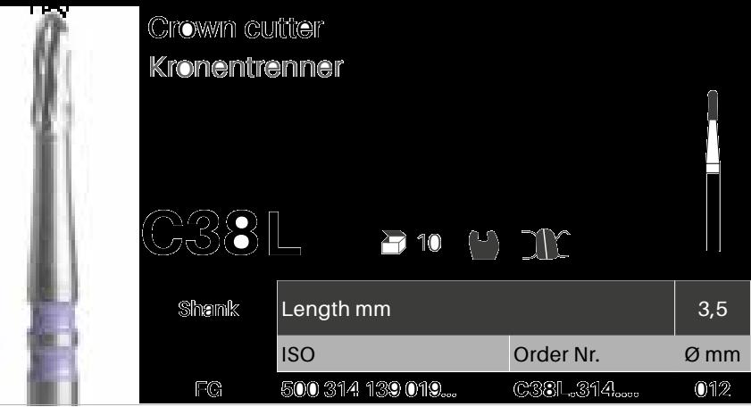 Rozřezávač korunek C38L - FG