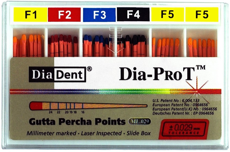Dia-ProT - F3  speciální milimetrově značené gutaperčové čepy pro ProTaper, bal. 60 ks