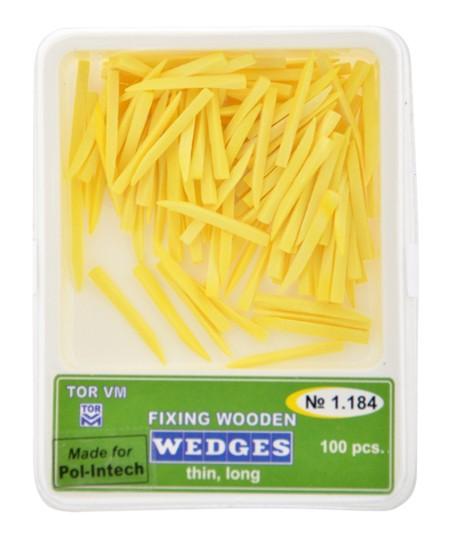 Klínky dřevěné žluté thin short