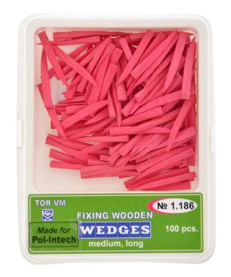 Klínky dřevěné růžové medium long