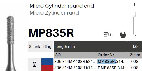Diamant - Mikro válec kulatý MP835R