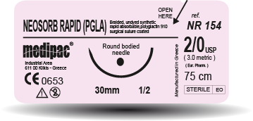 Neosorb Rapid RPGLA - USP 4/0, EP 1.5, jehla řezná 3/8