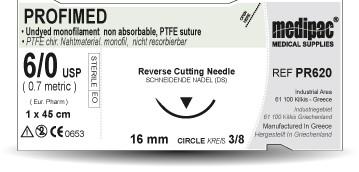 Profimed (PTFE) - USP 5/0, EP 1.0, jehla řezná 3/8