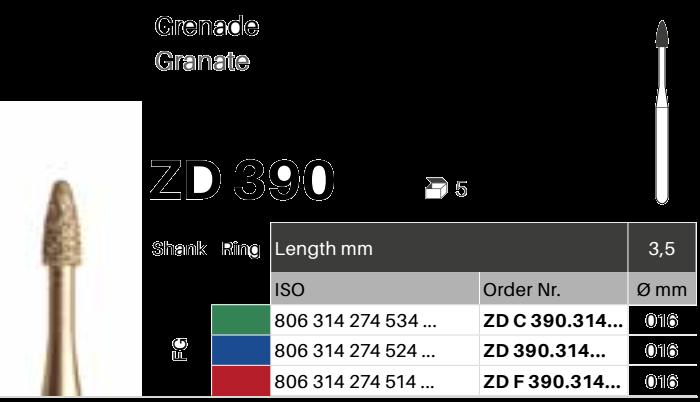 ZD diamant na zirkon oxid - 390 granát - 5 ks