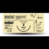 MONOFAST- USP 4/0, EP 1.5, jehla řezná 3/8